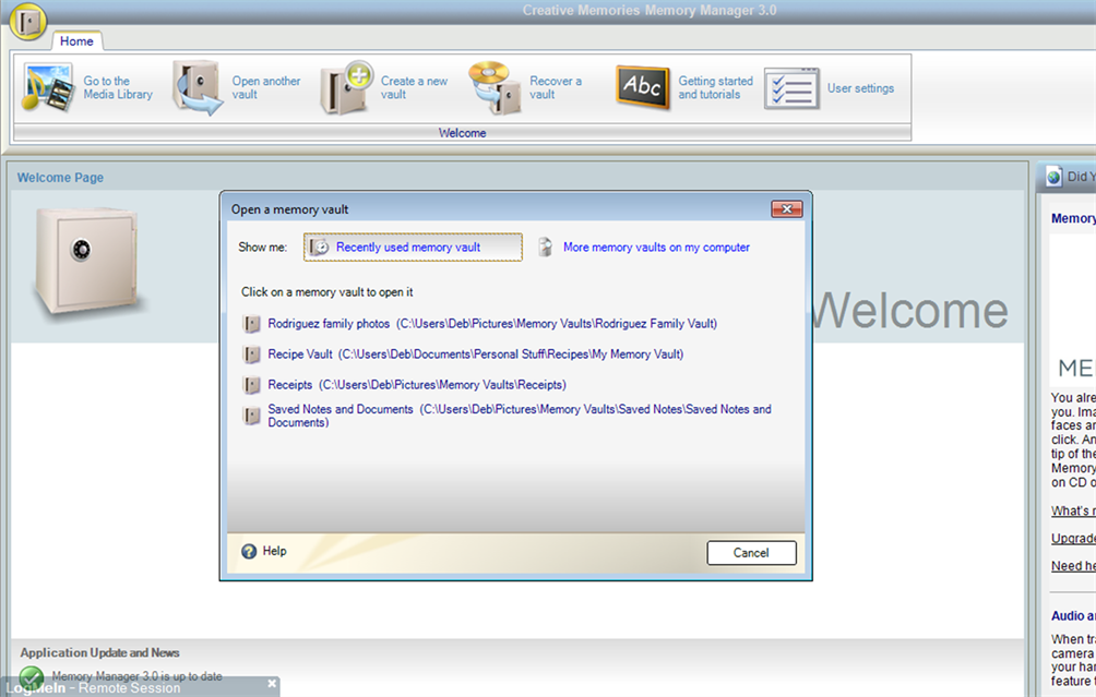 Screenshot of Open Vault dialog box in Memory Manager 3.0